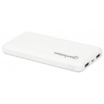 Manhattan Power Bank (Clearance Pricing), 10000 mAh, Output: 2x USB-A (2.1A & 1A), Input: USB-C & Micro-USB (both 2A), White, One Year Warranty, Blister