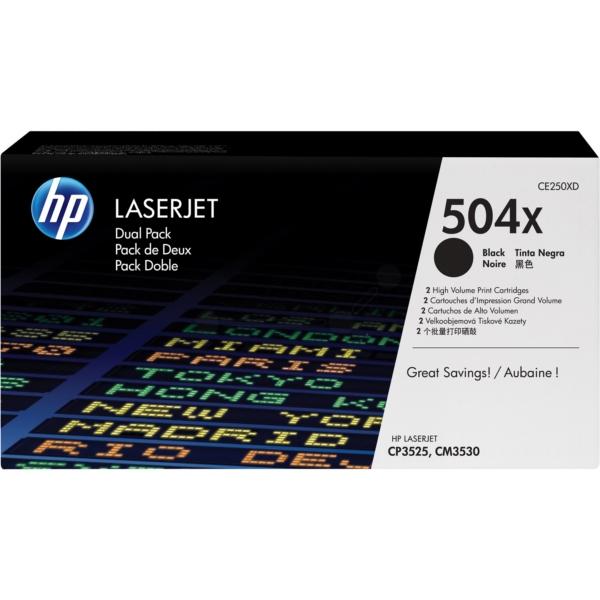 HP CE250XD (504X) Toner black, 10.5K pages, Pack qty 2