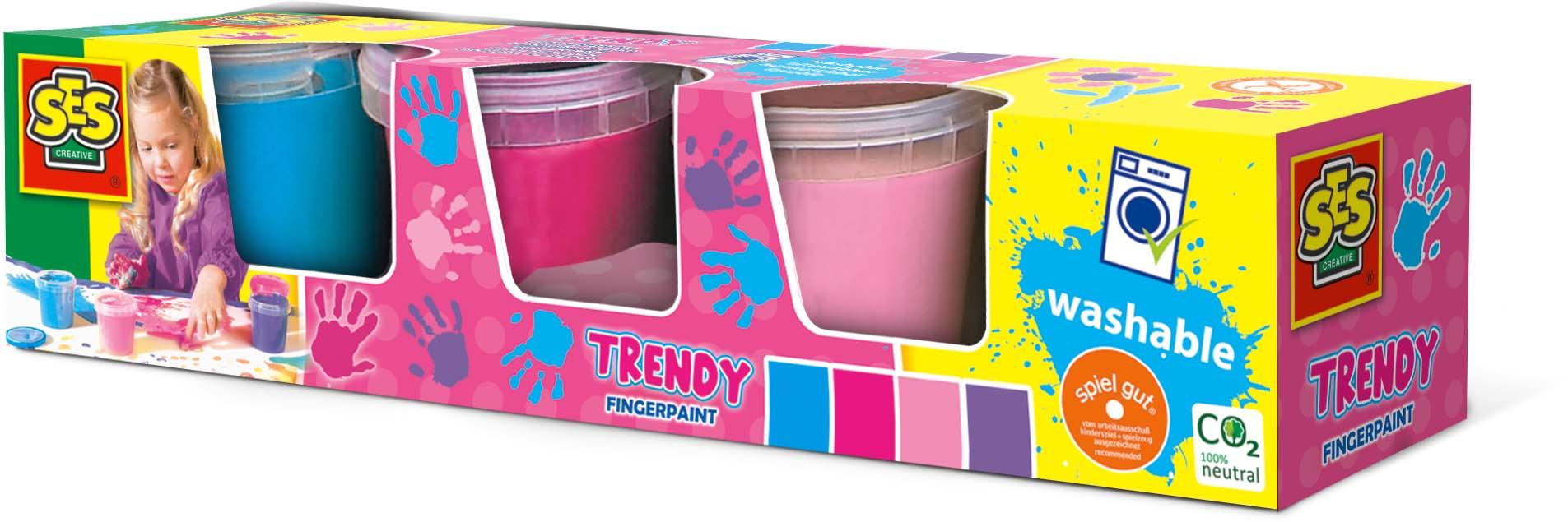 SES Creative Fingerpaint trendy 4 colours x145ml