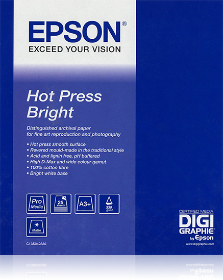 "Epson Hot Press Bright, 44"" x 15m, 300g/m² large format media"