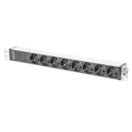 Digitus aluminum outlet strip with pre-fuse, 8 safety outlets, 2 m supply IEC C14 plug