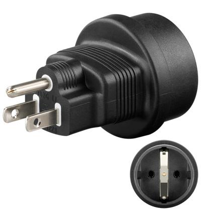 Goobay NK SET CEE7 - US power plug adapter Type F Black