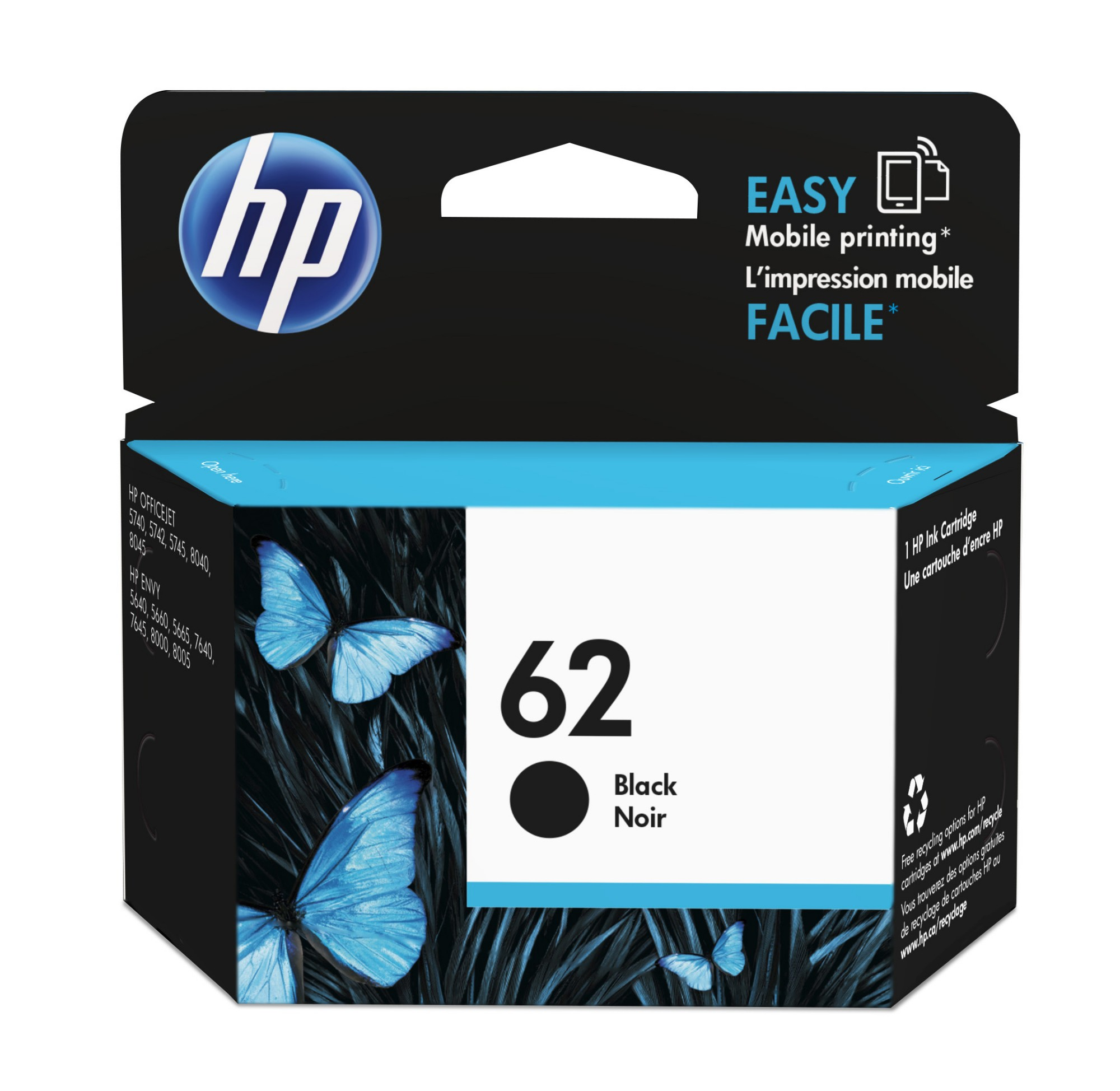 HP 62 Black Ink Cartridge inktcartridge Original Zwart