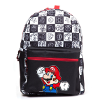 Nintendo Super Mario Bros. Mario Jumping with All-over Tiled Characters Backpack, Black/White (BP110216NTN)