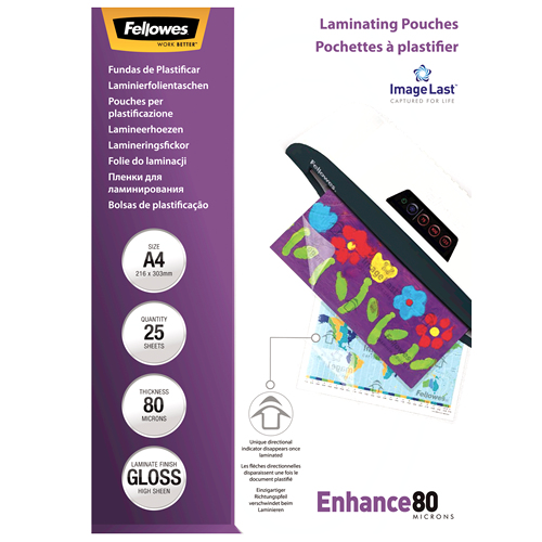 Fellowes ImageLast A4 80 Micron Laminating Pouch - 25 pack