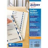 Avery Indexmaker 10 Part Divider Polyprop Clear A4 05113081