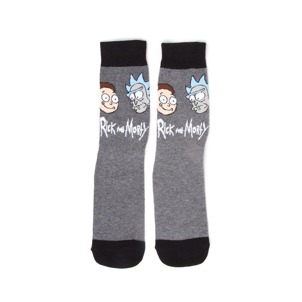 RICK AND MORTY Men's Face Crew Socks, 39/42, Grey/Black (CR161255RMT-39/42)