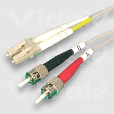 Videk 62.5/125 LC to ST Duplex 0.5m fibre optic cable Grey