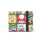 NINTENDO Super Mario Bros. Characters Tiled Bi-fold Wallet with Elastic Band, One Size, Multi-colour (MW15020