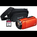 JVC GZ-R495 Orange 4GB Memory HD Quad Proof Camcorder Kit inc 32GB SD and Case