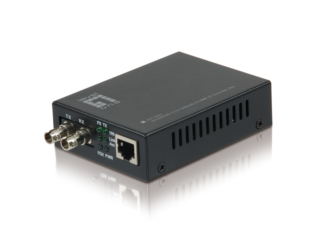 LevelOne RJ45 to ST Fast Ethernet Media Converter, Multi-Mode Fiber, 2km