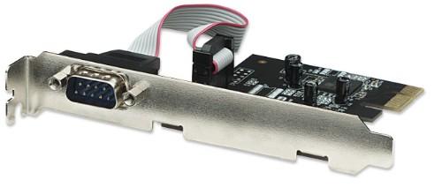 Manhattan PCI Express Card, 1x Serial DB9 port, 2.5 Mbps, x1 lane, x1 x2 x4 x8 x16 lane bus, Standard/Low Profile PCI, Box
