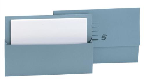 5 Star Document Wallet Half Flap 250gsm Capacity 32mm Foolscap Blue [Pack 50]