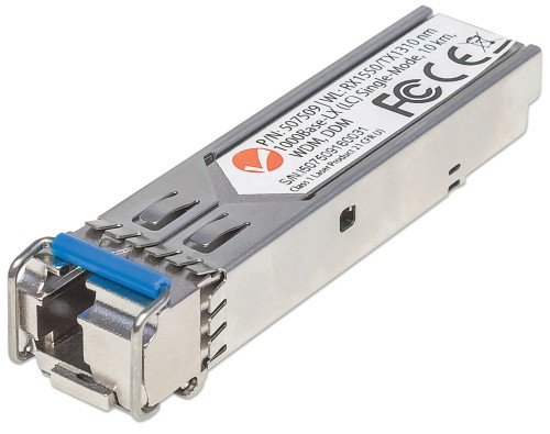 Intellinet Gigabit Fibre WDM Bi-Directional SFP Optical Transceiver Module, 1000Base-Lx (LC) Single-Mode Port, 10km, WDM (Rx1550/Tx1310)