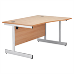 Jemini White/Silver 1600mm Left Hand Wave Cantilever Desk KF838695