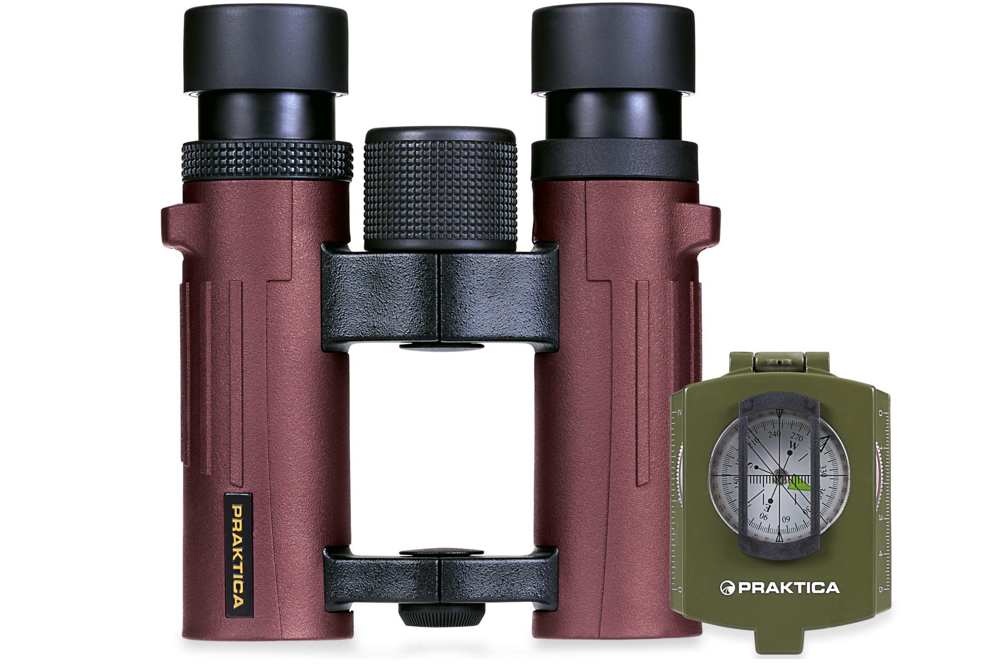 Pioneer 10x26mm Red Waterproof Roof Prism  Binoculars + FREE COMPASS