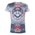 Nintendo Super Mario Bros. Adult Male Tropical Mario All-Over Sublimation T-Shirt, Small, Multi-Colour (TS221