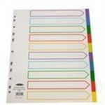 Concord Subject Dividers Polypropylene Multicolour Tabbed 10-Part Extra Wide A4 White Ref 66199