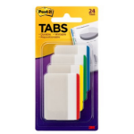Post-It Tabs, 2 inch Lined, Assorted Primary Colors, 6/Color, 4 Colors, 24/Pk self adhesive tab Beige, Green, Red, Yellow
