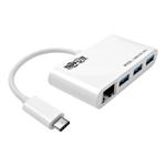 Tripp Lite 3-Port USB 3.1 Gen 1 Portable Hub, USB Type-C (USB-C) to (x3) USB-A, with Gigabit Ethernet Port