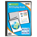 Tiger A4 Presentation Display Book Black 20 Pocket