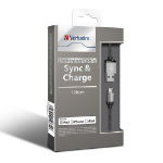 VERBATIM Metallic Charge & Sync Lightning Cable - Silver 120cm or 1.2M