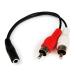 StarTech.com Cable Adaptador de 15cm de Audio Estéreo Mini Jack de 3,5mm Hembra a 2x RCA Macho