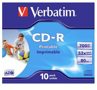 Verbatim CD-R AZO Wide Inkjet Printable 43325