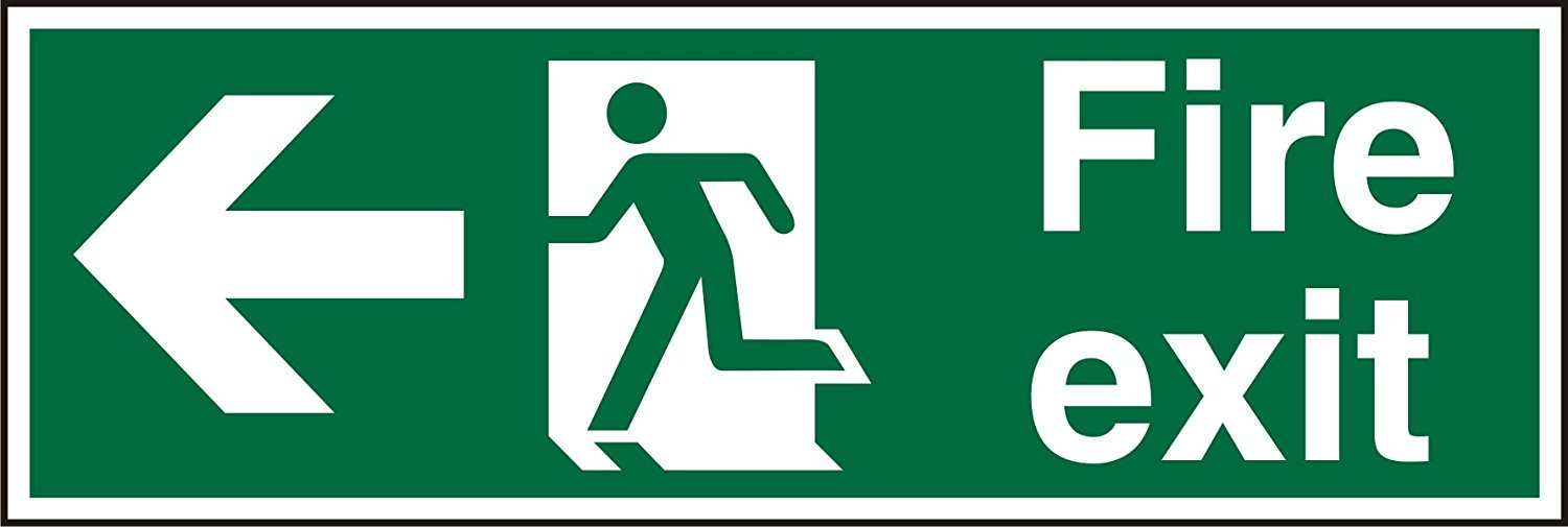 Stewart Superior Fire Exit Left Sign