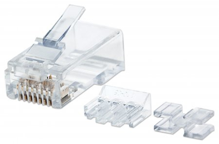 INTELLINET RJ45 MODULAR PLUGS, CAT6A, UTP, 3-PRONG, FOR SOLID WIRE, 15  GOLD PLATED CONTACTS, 80 PACK