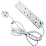 Cablenet 4 Socket Surge and Spike Protected Extension Lead White 5m
