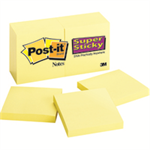 Post-It Super Sticky Notes, 3 in x 3 in, Canary Yellow, 12 Pads/Pack