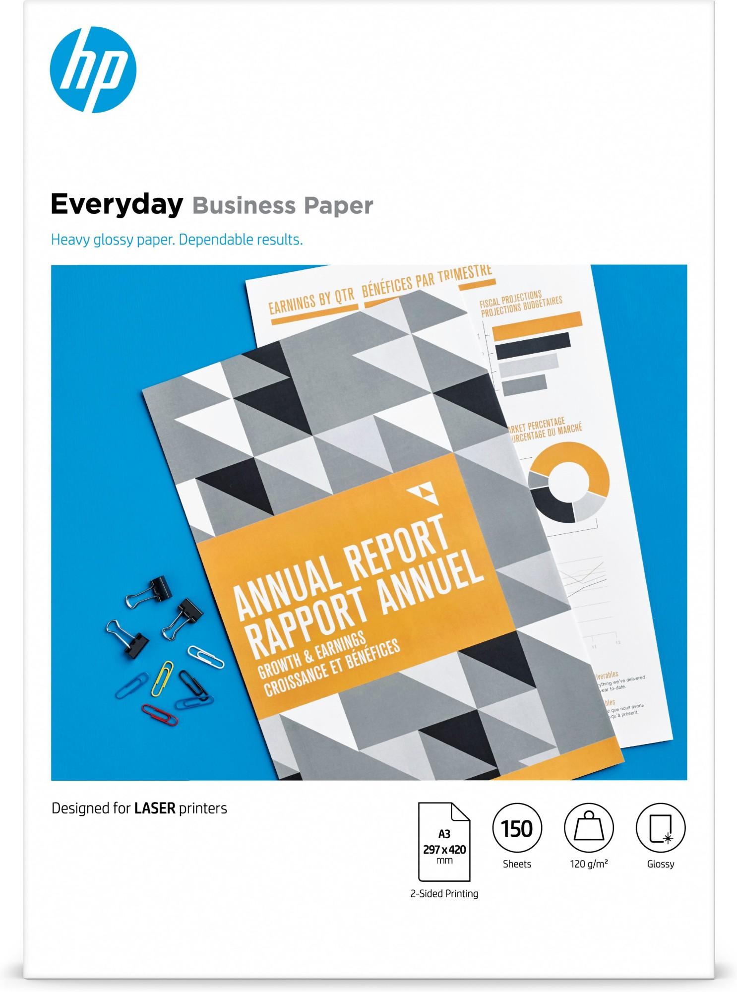 HP Everyday Laser Glossy FSC Paper 120 gsm-150 sht/A3/297 x 420 mm papel para impresora de inyección de tinta A3 (297x420 mm) Brillo 150 hojas Blanco
