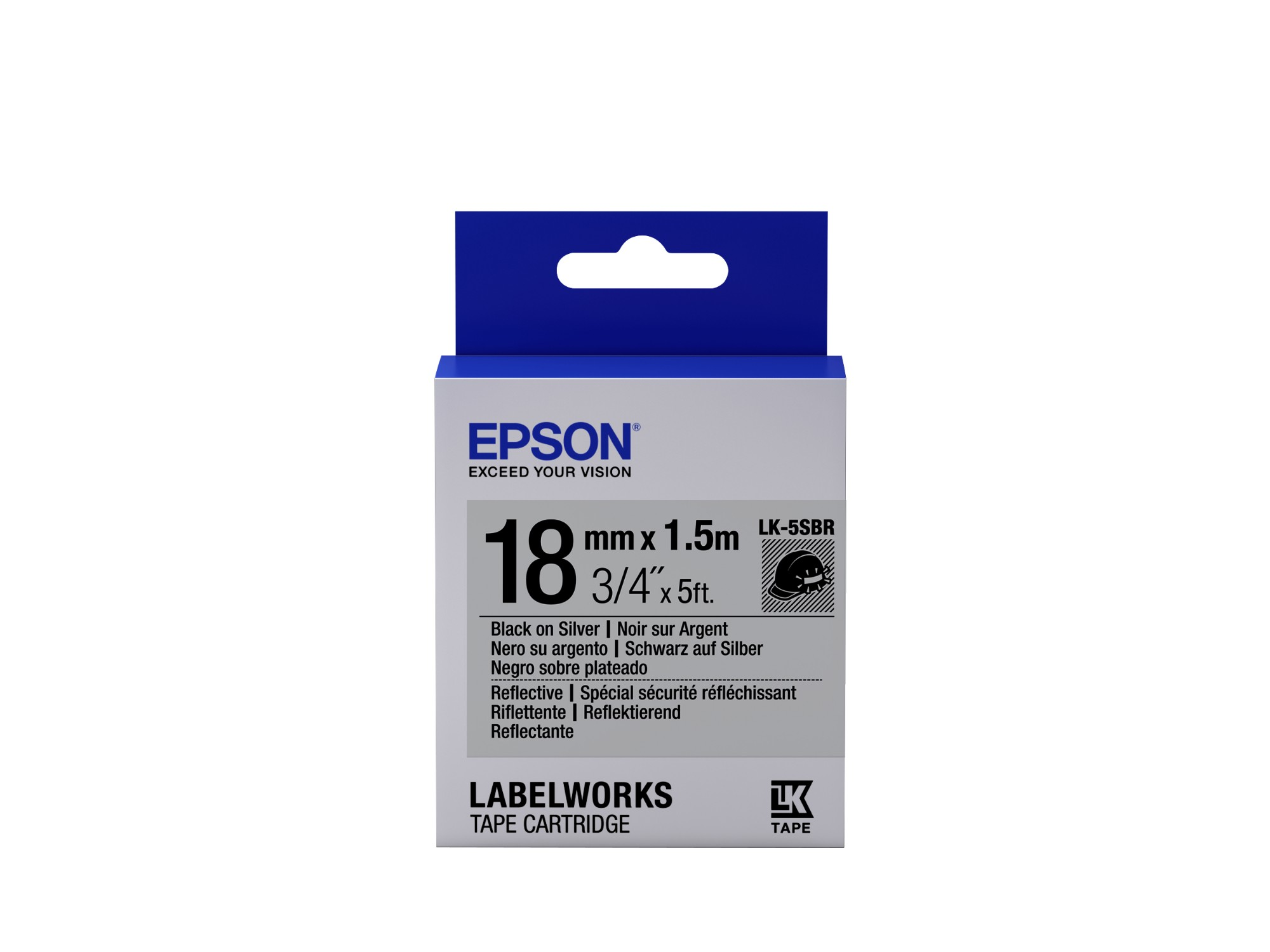 Epson Label Cartridge Reflective LK-5SBR Black/Silver 18mm (1.5m)