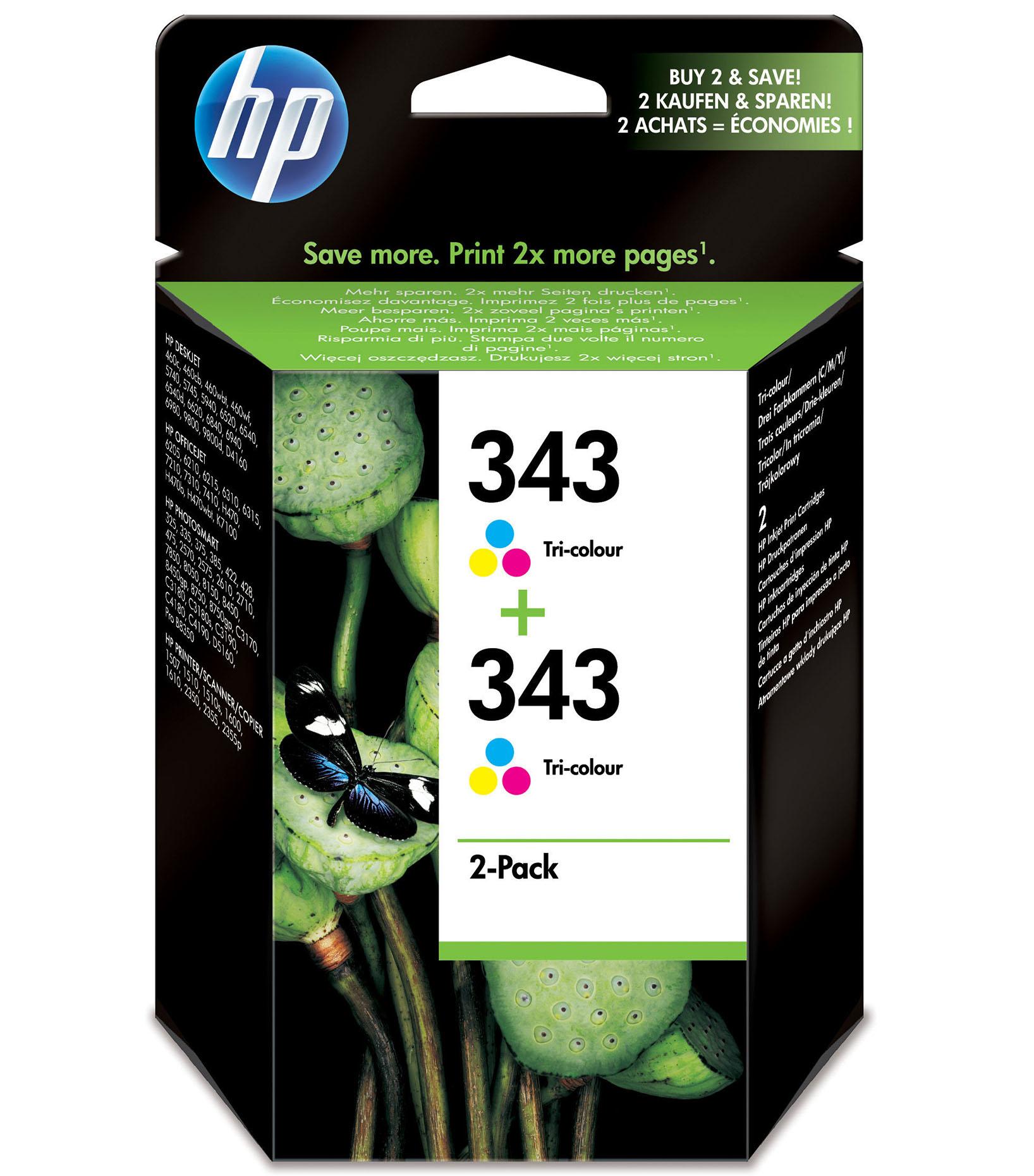 HP 343 Origineel Cyaan, Magenta, Geel Multipack 2 stuk(s)