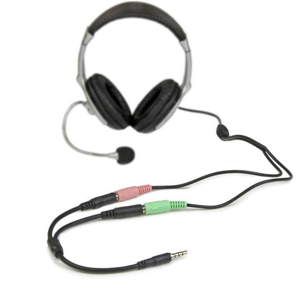 StarTech.com Headset adapter for headsets with separate headphone / microphone plugs - 3.5mm 4 position to 2x 3 position 3.5mm M/F