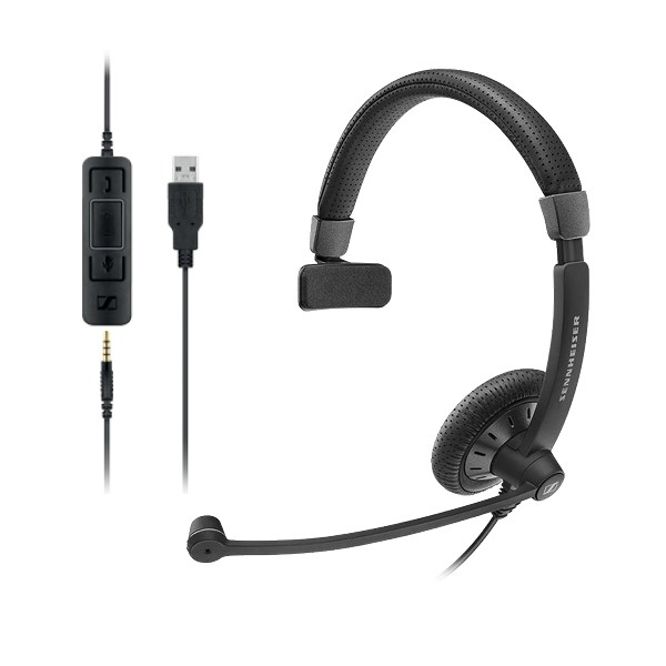 Sennheiser Monaural corded headset with 3.5 mm four-pole jack, plus detachable USB cable with call control
