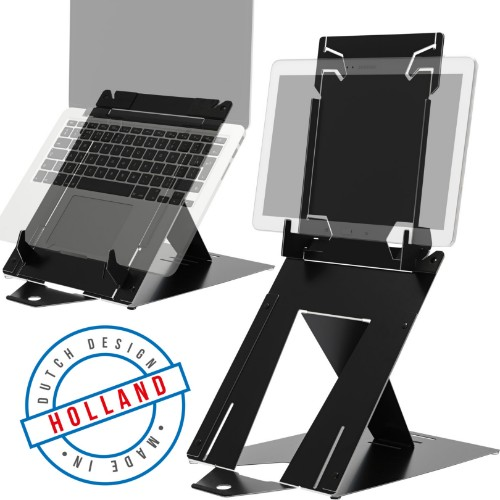 R-Go Tools R-Go Riser Duo, Tablet and Laptop Stand, adjustable, black