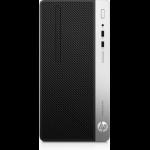 HP ProDesk 400 G5 Intel® Core™ i7 der achten Generation i7-8700 8 GB DDR4-SDRAM 256 GB SSD Schwarz, Silber Micro Tower PC
