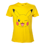 Pokémon Men's Pikachu Winking T-Shirt, Large, Yellow (TS120320POK-L)