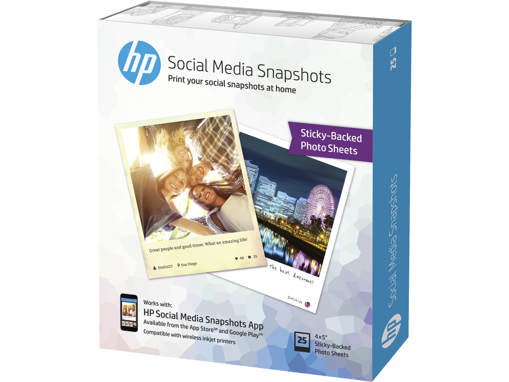 HP Social Media Snapshots Removable Sticky -25 sht/10 x 13 cm photo paper