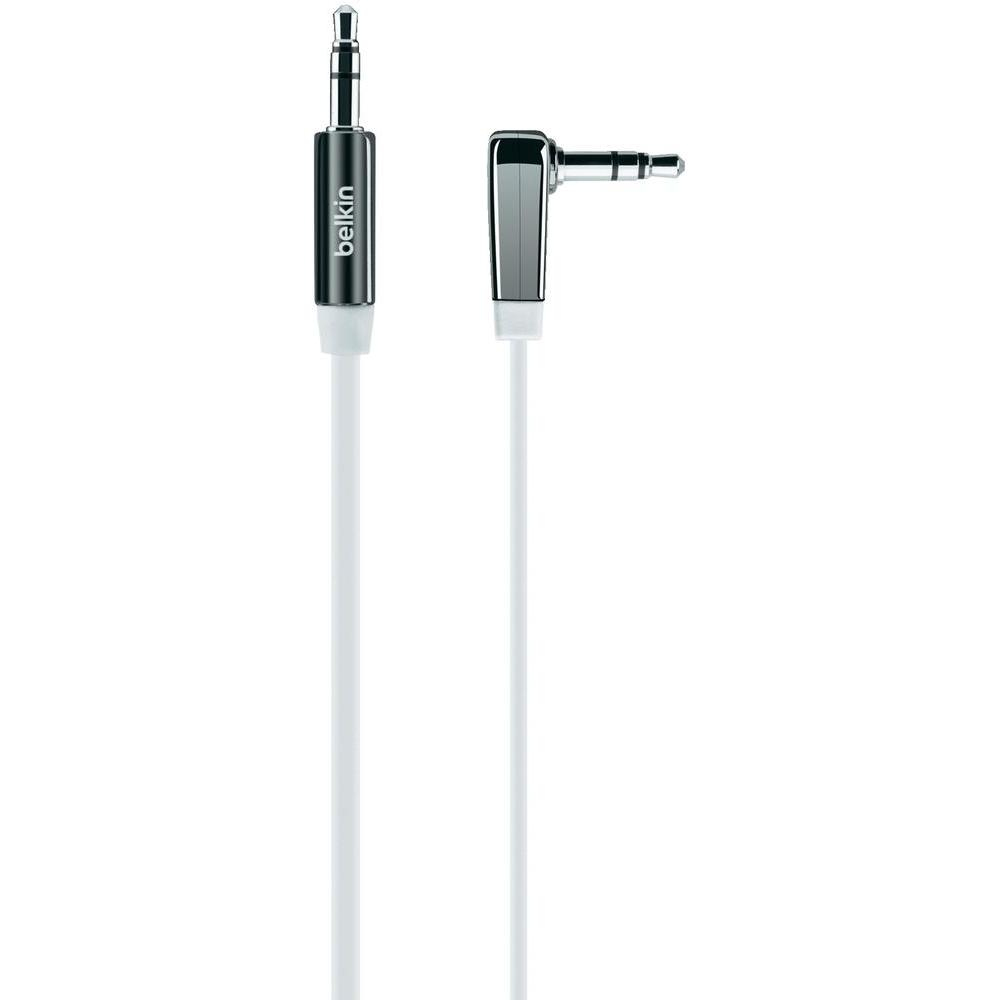 Belkin MixIt Colour Range 0.9m Flat Right Angle AUX Cable for iPhone iPad smartphone and Tablets-White