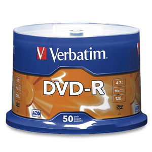 Verbatim 16x DVD-R Media 4.7GB DVD-R 50pc(s)
