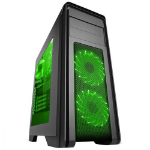 GAMEMAX Game Max Falcon Gaming Black Midi Tower Case - Green LEDs
