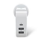 ALOGIC 3 Port USB-C & Dual USB-A Travel Power Adapter - USB-C (30W PD) & Dual USB-A (15W) - WHITE + GREY COLOR - Includes Adapters for AU UK EU and US pouch and white PS inner blister