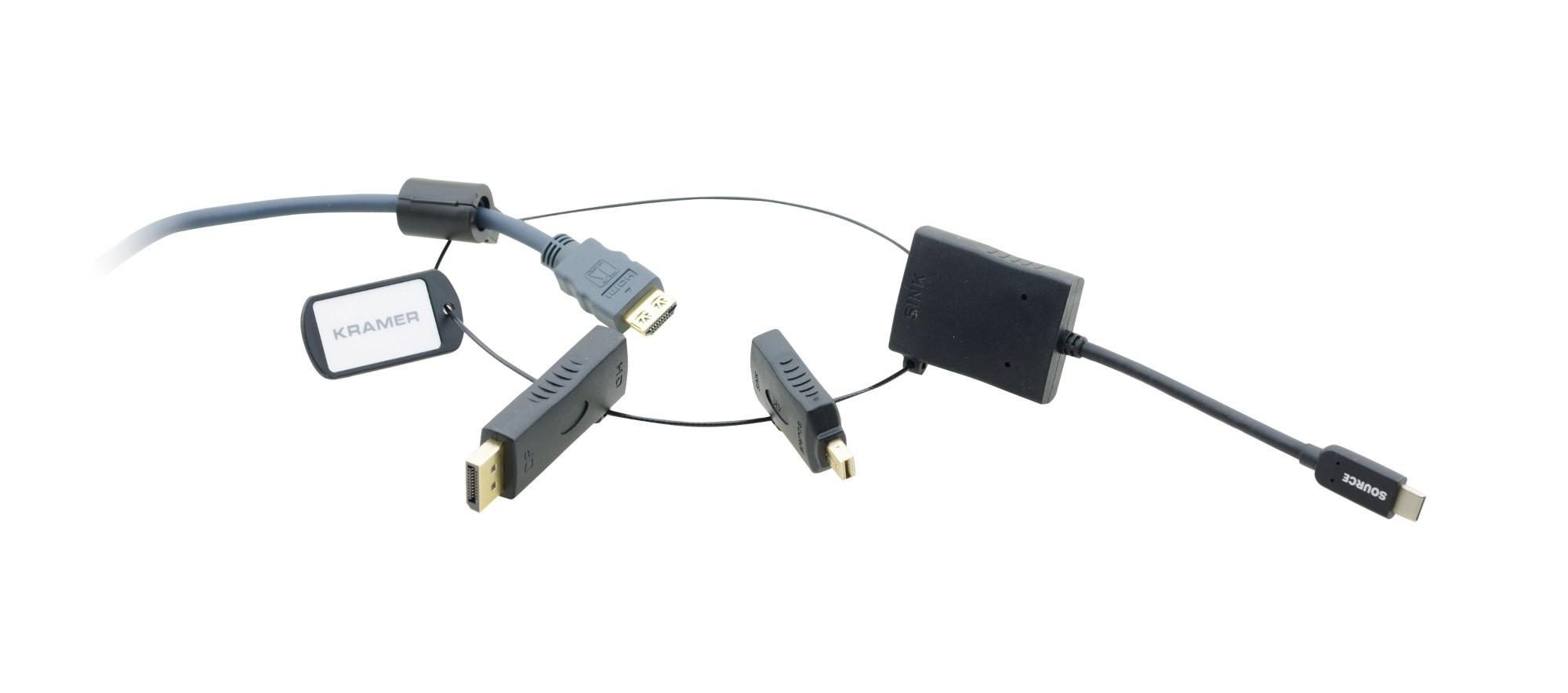 Kramer Electronics AD-RING-7 adaptador de cable USB C, MiniDP, DP HDMI Negro