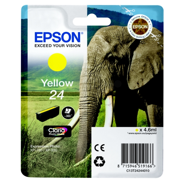 Epson C13T24244020 (24) Ink cartridge yellow, 360 pages, 5ml