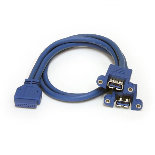 StarTech.com Cable Extensor 50cm 2 Puertos USB 3.0 para Montaje en Panel conexión a Placa Base - Hembra USB A