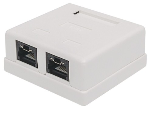 Intellinet Mount Box, Cat6, UTP, 2 Port, Locking Function, White
