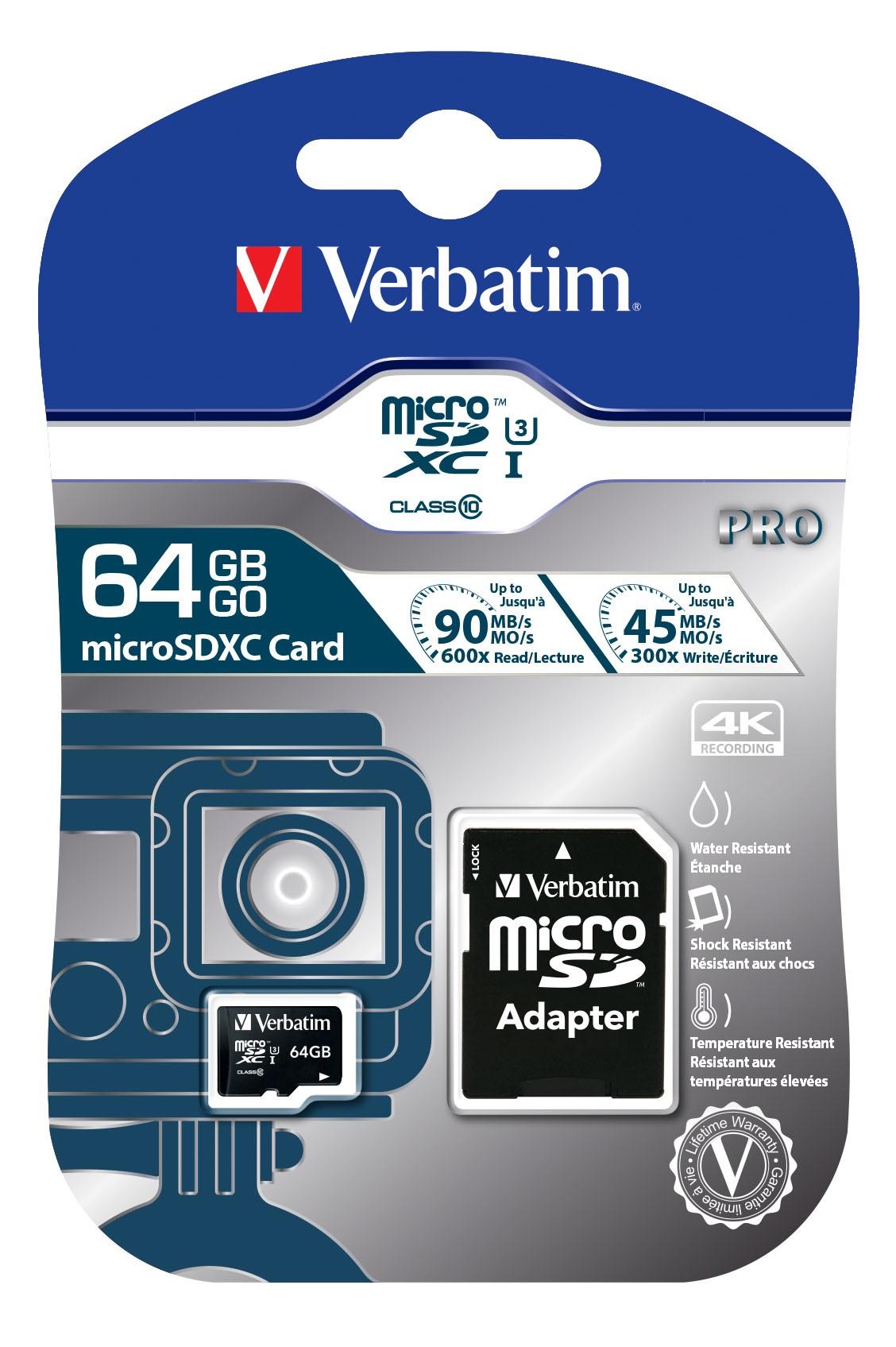 Verbatim Pro memory card 64 GB MicroSDXC Class 10 UHS
